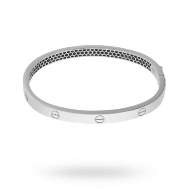 Bracciale Bangle Plain 55 mm con Chiusura a Scatto in ARGENTO 925 Rodiato