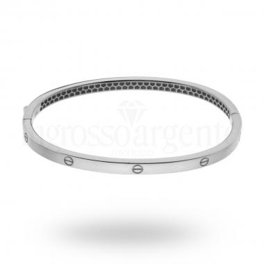 Bracciale Bangle Plain 3.5 mm con Chiusura a Scatto in ARGENTO 925