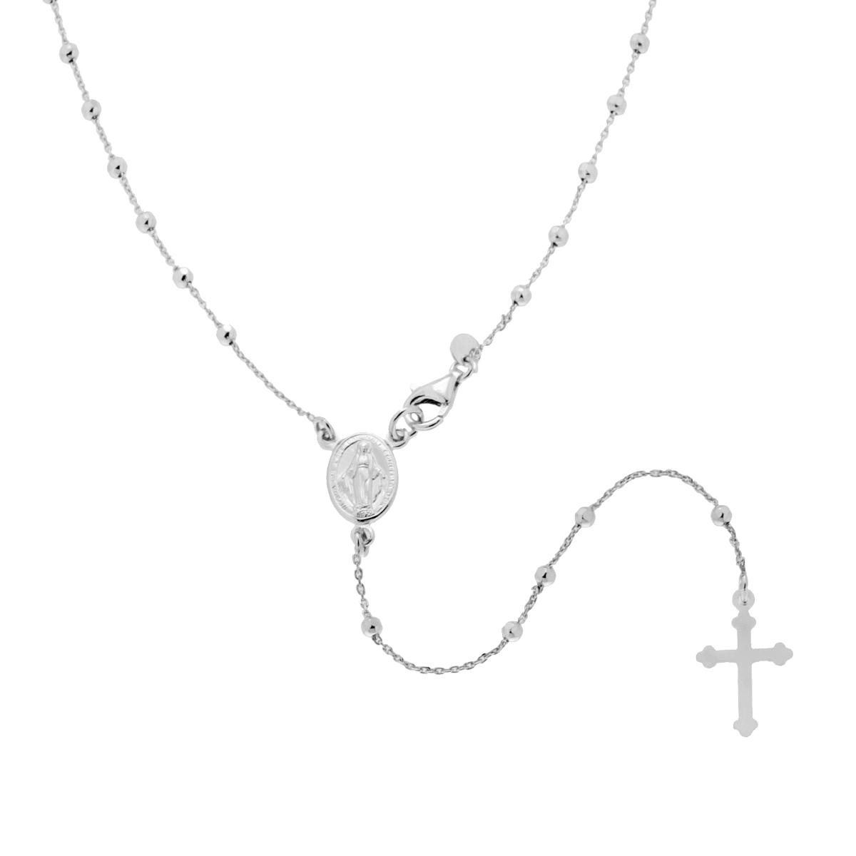 Collana Rosario cm 50 con Palline Diamantate mm 2,5 in ARGENTO 925 Rodiato