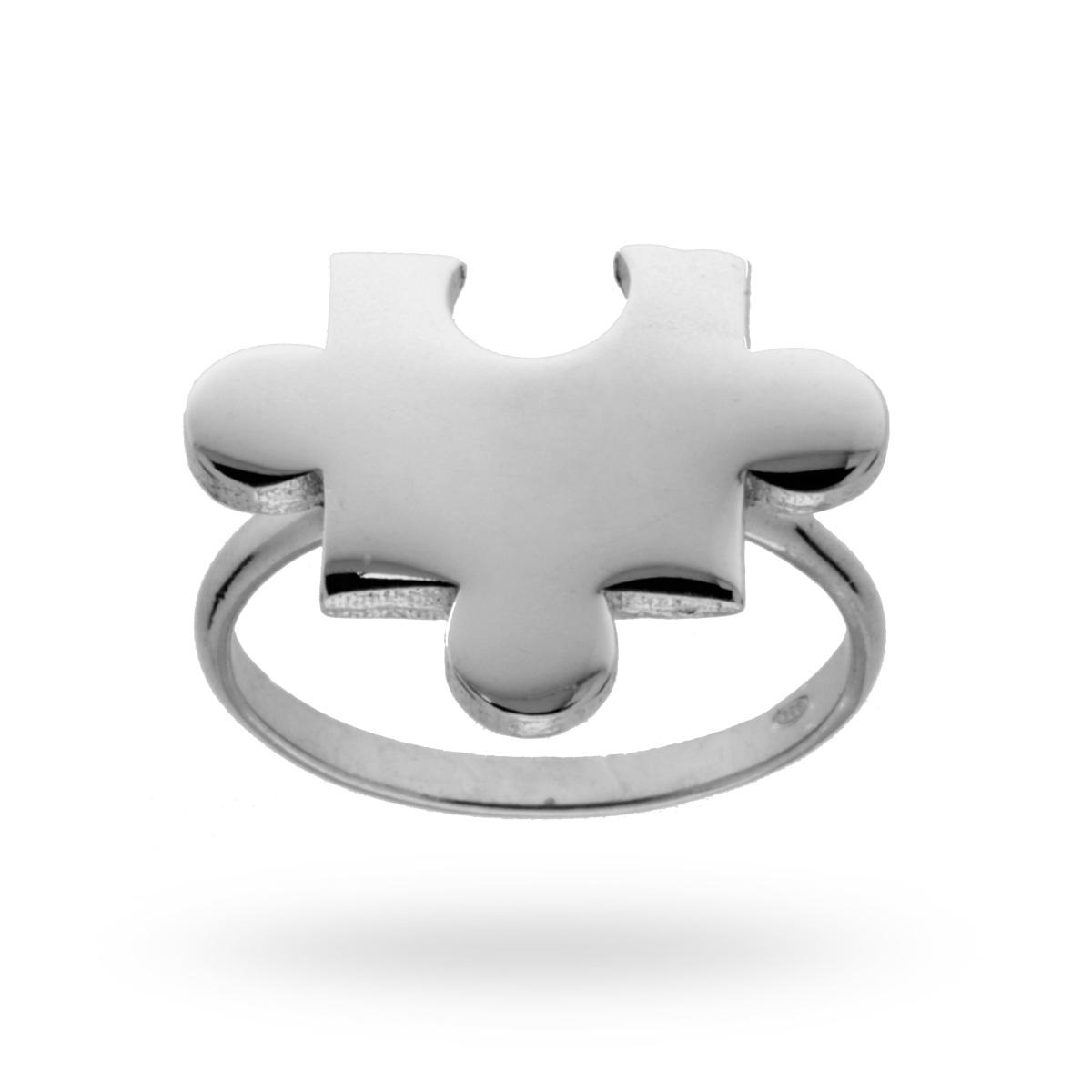 Anello con Accessorio Puzzle in ARGENTO 925 Rodiato