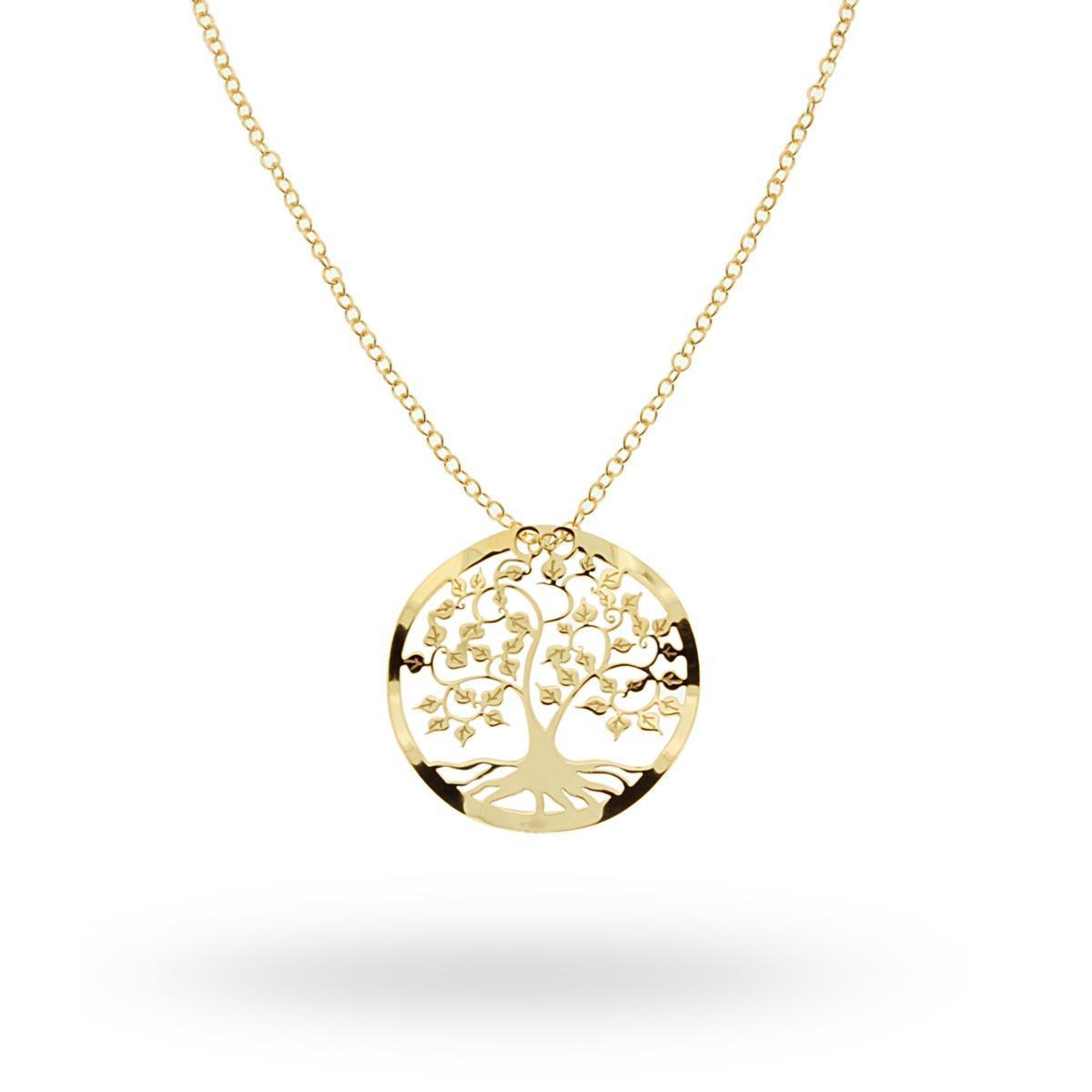 Collana Con Albero Della Vita In Argento 925 Rodiato Colore Oro 14478