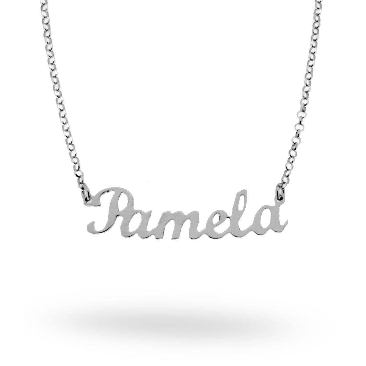 rivenditore all'ingrosso 1adf3 b4a12 Collana nome Pamela in ARGENTO 925 Rodiato 15276