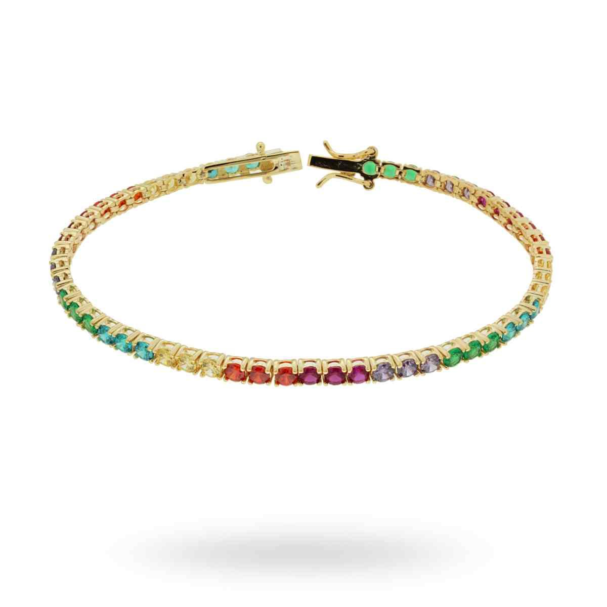 Bracciale Tennis Rainbow 4 Griffe cm 18 con Zirconi Color mm 3 in ARGENTO 925 Galvanica Oro