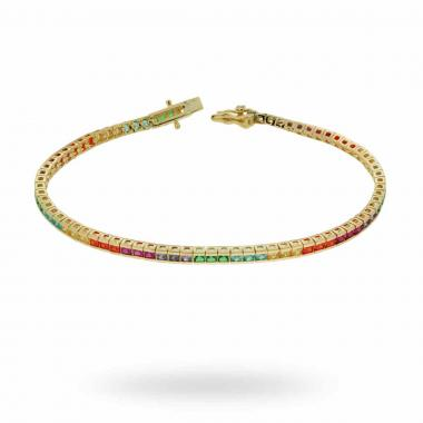 Bracciale Tennis Carre Rainbow cm 18 con Zirconi Color mm 2 in ARGENTO 925 Galvanica Oro