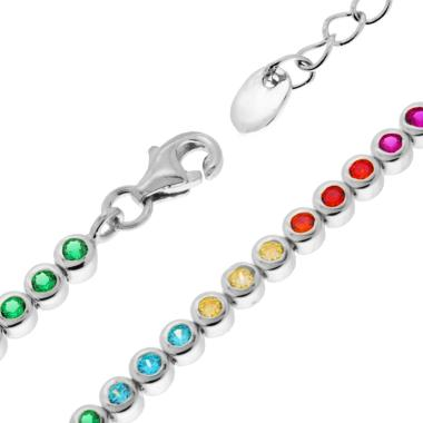 Collana Tennis Rainbow Cipollino cm 34+6 con Zirconi Color 2.5 mm in ARGENTO 925 Rodiato