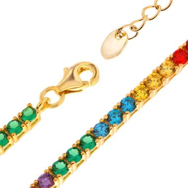 Collana Tennis Rainbow 4 Griffe cm 34+6 con Zirconi Color mm 2.5 in ARGENTO 925 Galvanica Oro