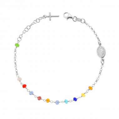 Bracciale Rosario cm 19 con Grani in Crystal mm 3.5 colore Multicolor Rainbow in ARGENTO 925 Rodio