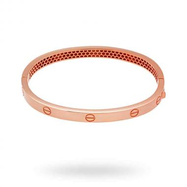 Bracciale Bangle Plain 55 mm con Chiusura a Scatto in ARGENTO 925 Galvanica Rosata
