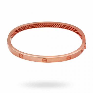 Bracciale Bangle Plain 59 mm con Chiusura a Scatto in ARGENTO 925 Galvanica Rosata