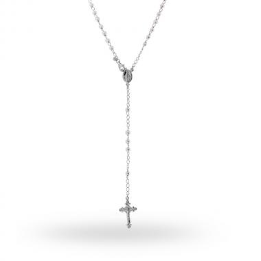 Collana Rosario cm 60 con Grani in Perla Parigi mm 4 in ARGENTO 925 Rodiato