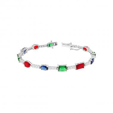 Bracciale Tennis 18 mm con Pietre Multicolor e Zirconi Bianco in ARGENTO 925 Rodiato