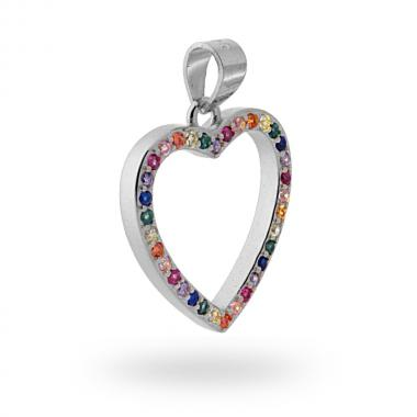 Ciondolo Cuore con Zirconi Multicolor Rainbow in ARGENTO 925 Rodiato