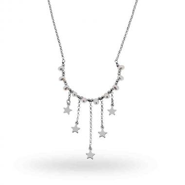 Collana Catena Rolo Diamantata con Perle e Stelle Plain pendenti in ARGENTO 925 Rodiato