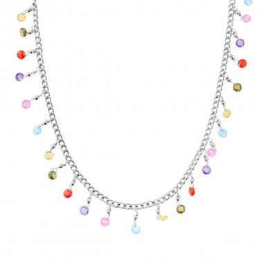 Collana Catena Grumetta con Crystal Multicolor Pendenti in ARGENTO 925 Rodiato