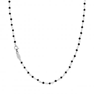 Collana Catena 40 mm con Crystal Nero in ARGENTO 925 Rodiato