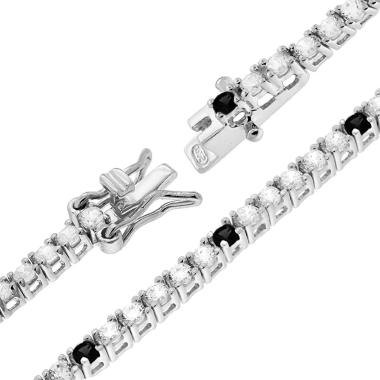 Bracciale Tennis Griffe cm 18 con Zirconi mm 2 Bianchi e Neri alternati in ARGENTO 925 Rodio