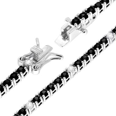 Bracciale Tennis Griffe cm 18 con Zirconi mm 2 Neri e Bianchi alternati in ARGENTO 925 Rodio