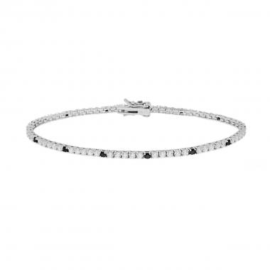 Bracciale Tennis Griffe cm 21 con Zirconi mm 2 Bianchi e Neri alternati in ARGENTO 925 Rodio