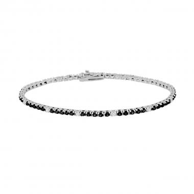 Bracciale Tennis Griffe cm 21 con Zirconi mm 2 Neri e Bianchi alternati in ARGENTO 925 Rodio