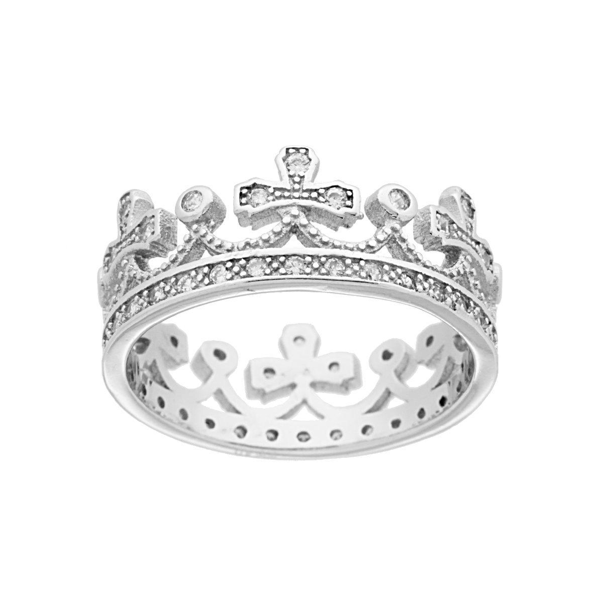 Anello con corona con zirconi bianchi placcato oro bianco in argento 925\u2030