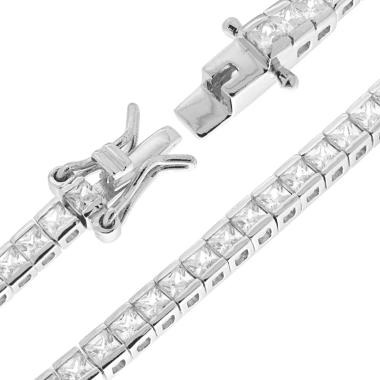 Bracciale Tennis Carrè cm 18 con Zirconi Bianchi mm 2 in ARGENTO 925 Rodiato