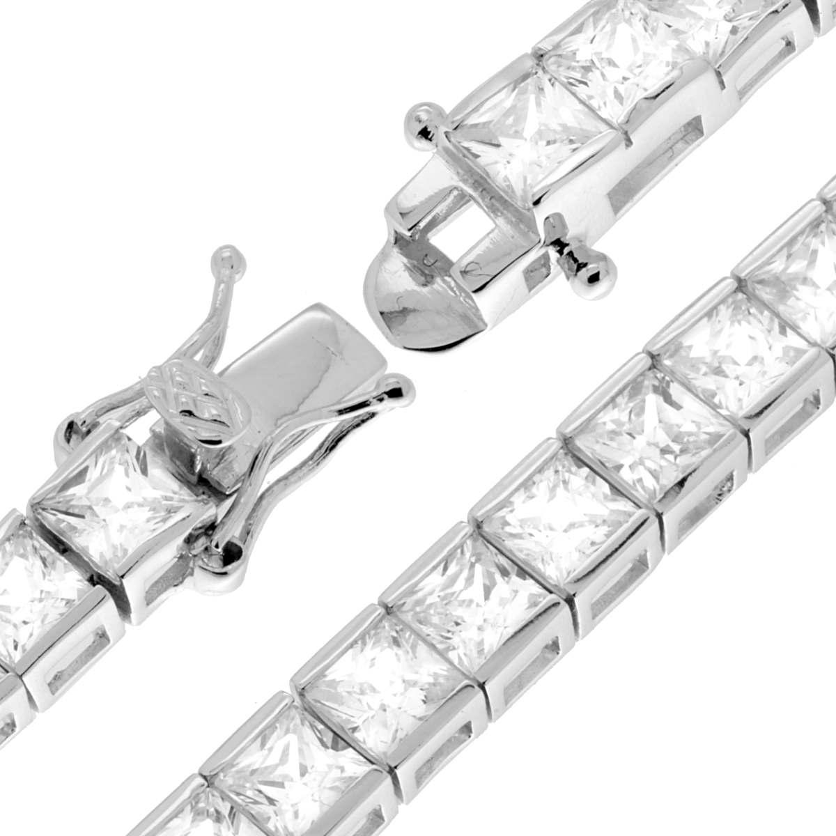 Bracciale Tennis Carrè con Zirconi 4 mm cm 21 in ARGENTO 925 Rodiato