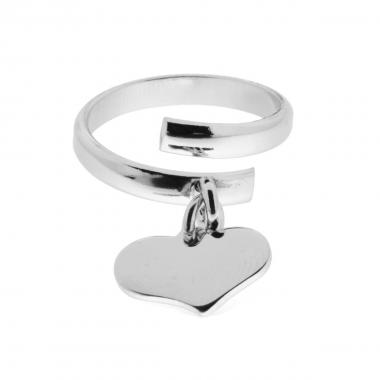 Anello con Cuore pendente plain mm 14 in ARGENTO 925 Rodiato